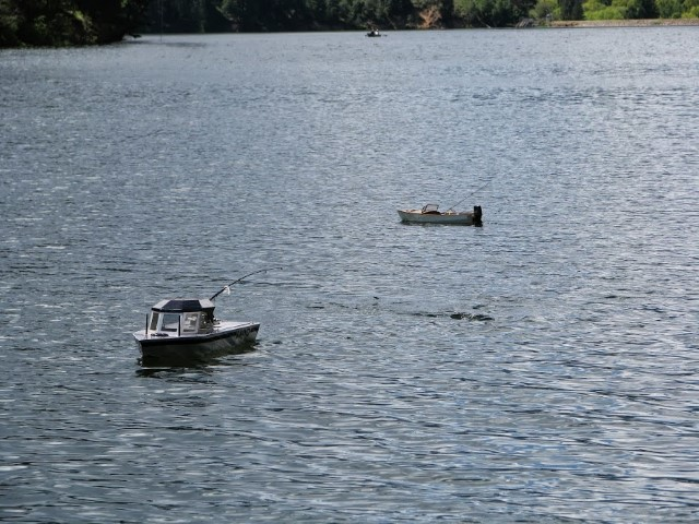 Two RC boats fishing